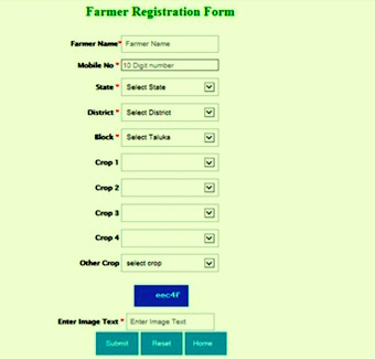 Farmer registration form for AgroMet Advisory Service