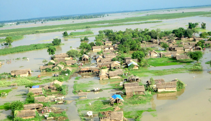 A flooded village in Banke district of western Nepal. (Photo by Nepalese Army)