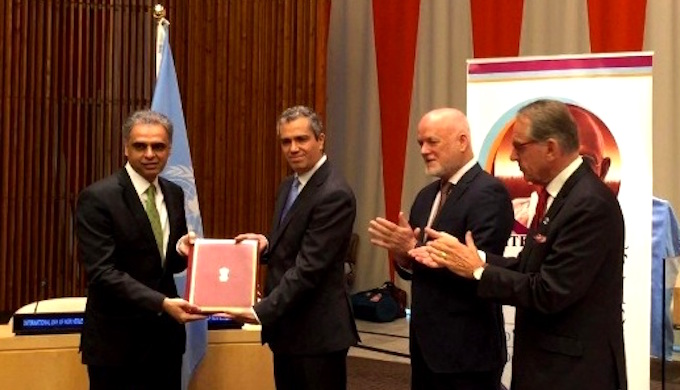 Syed Akbaruddin, India's permanent representative at the United Nations, handed over the instrument of ratification of the Paris climate Agreement on October 2, the birth anniversary of Mahatama Gandhi. (Photo by Ministry of External Affairs)