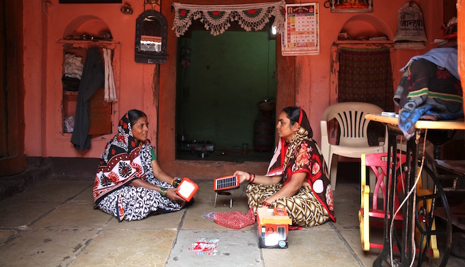 Solar lamps are a clean energy option for rural households. (Photo by Swayam Shikshan Prayog)