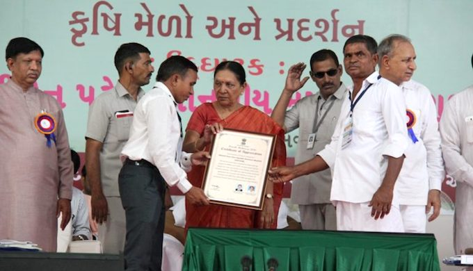 Former Gujarat chief minister Anandiben Patel awards a certificate of appreciation to the farmers' cooperative on May 9, 2016, in Anand, Gujarat. (Photo by Sapna Gopal)