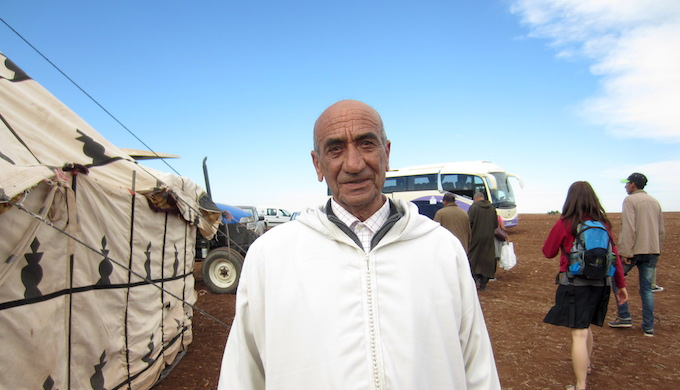Moroccan farmer Bil Hassan of Settat lauds the new method of cultivation. (Photo by Keya Acharya)