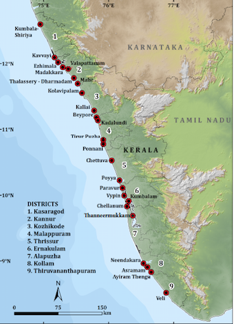 Distribution of mangroves in Kerala. (Source: Kerala State Biodiversity Board)