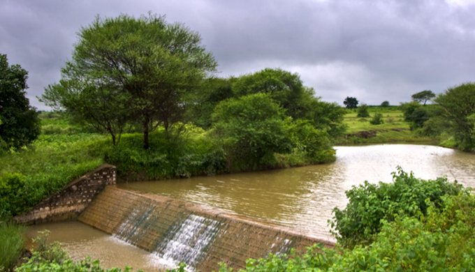 A check dam at the Kothapally watershed in Telangana (Photo by Srujan Punna)