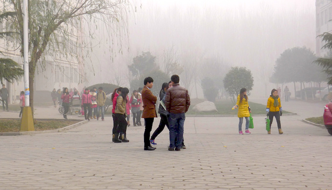 Air pollution in a city university in Henan province of China. (Photo by V.T. Polywoda)