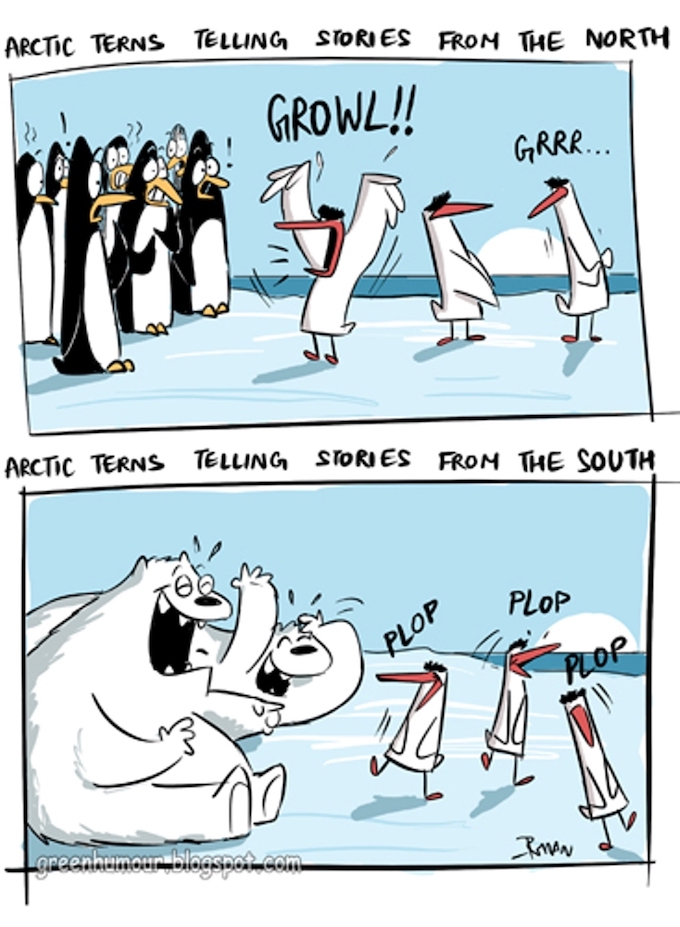 Arctic Tern Anecdotes: The cartoonist's humorous take on Arctic Terns who migrate over 70,000 km across the globe and their view of life at both the poles. (By Rohan Chakravarty / Green Humour)