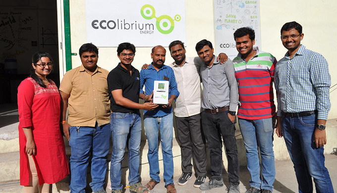 The Ecolibrium Energy team celebrating the award. (Photo by Ashden Awards)