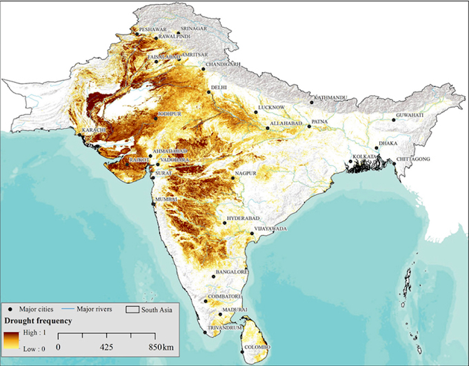 Vulnerability to drought in South Asia. (Source: IWMI)