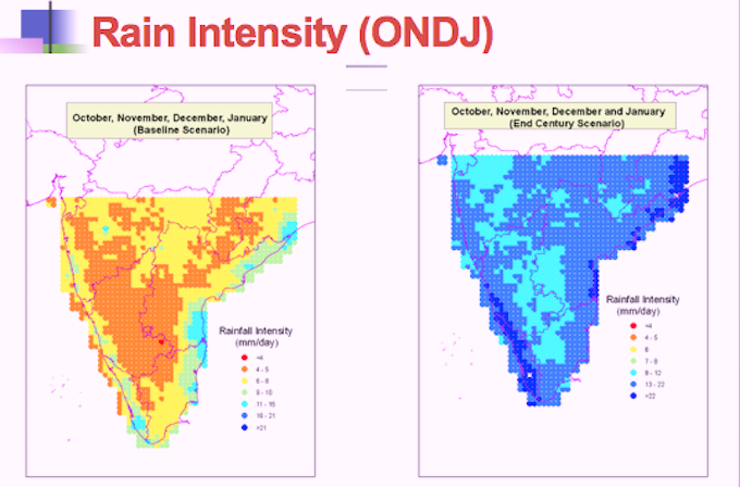Rain intensity projections for 2100. (Source: IIT Madras)