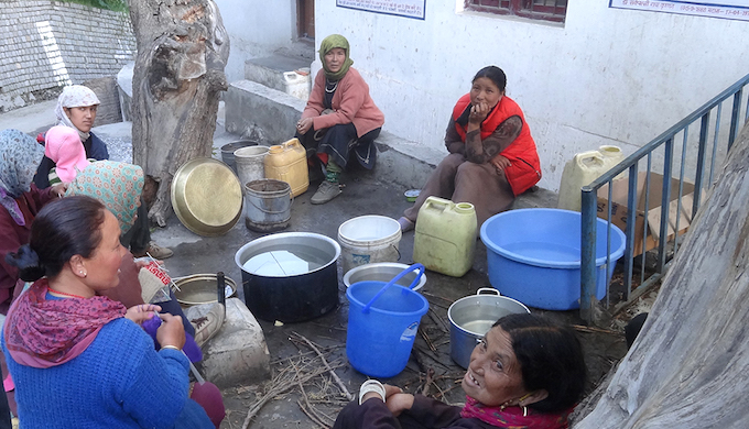 "There are strong gender divisions despite the presence of a Mahila Mandal, an organisation of women. Members of the Mahila Mandal gather here to cook for a community festival. The JNU study team found one instance where the Mahila Mandal had taken a major decision – on how to use a degraded forest. Other tasks are extensions of domestic work, while members of the Yuva Mandal are meant to deal with ""productive activities"", say the residents."