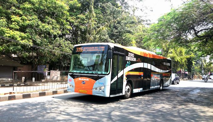 An electric bus operated by Bangalore Metropolitan Transport Corporation (Photo by Ramesh NG)