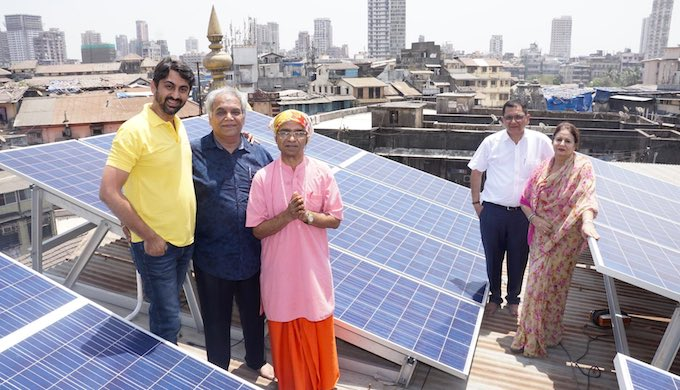 The Shri Krishna Pranami Mandir in Bhuleshwar in Mumbai has installed a rooftop solar system (Photo by Avishakti Rooftop Solar)