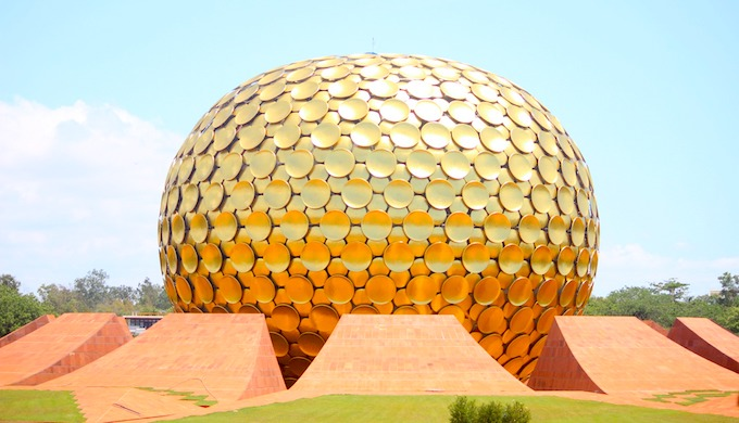 The Matrimandir prayer hall in Auroville in Puducherry is powered by solar energy (Photo by N. Karthikeyan)