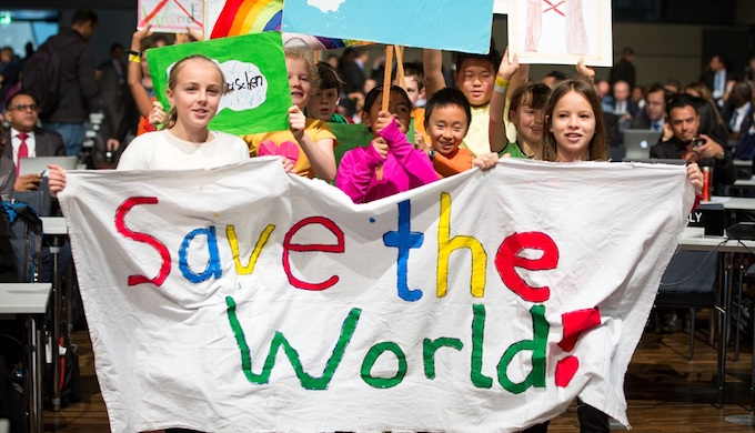 Children demand climate action at the opening of Bonn climate summit (Photo by UNFCCC)