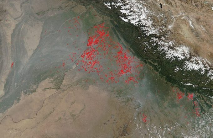 Taken by NASA's Goddard satellite on October 20, this picture shows the huge crop burning fires across the Indian states surrounding Delhi