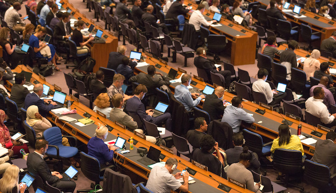 Delegates at the closing plenary of the Bangkok meeting (Photo by UN Climate Change)