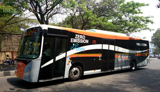 An electric bus run by the Bangalore Metropolitan Transport Corporation (Photo by Ramesh M.G.)
