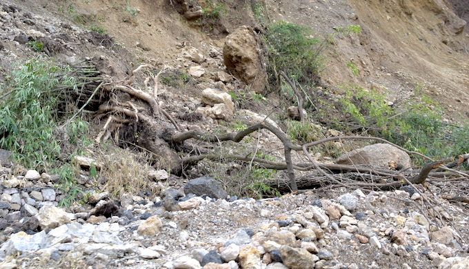 Many link roads in several villages of Garhwal have been swept away and the debris deposited in the agricultural fields after the construction of all-weather highway started (Photo by Viral Bug Films)