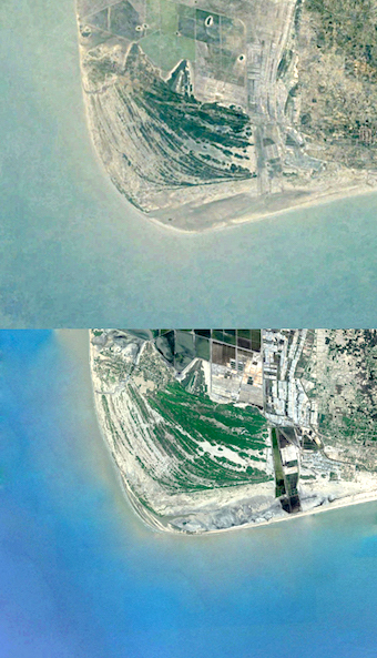 Satellite images of 1984 and 2018 show a slight shift in the beach at Kodiakkarai, where the Coromandel Coast turns into Palk Bay (Image by Google)