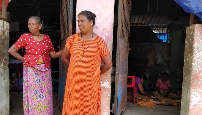 Kochukutty Amma (right) is living in a school building for the last five years. Her home was swept away by sea-waves in 2013 (Photo by Hridayesh Joshi)