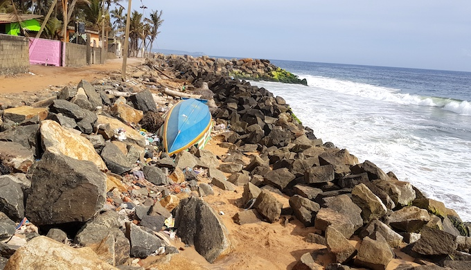 To save the erosion of coast by sea waves, such stony structures have been erected by the government all over the shoreline, but they are causing more erosion and preventing accretion at beach (Photo by Hridayesh Joshi)