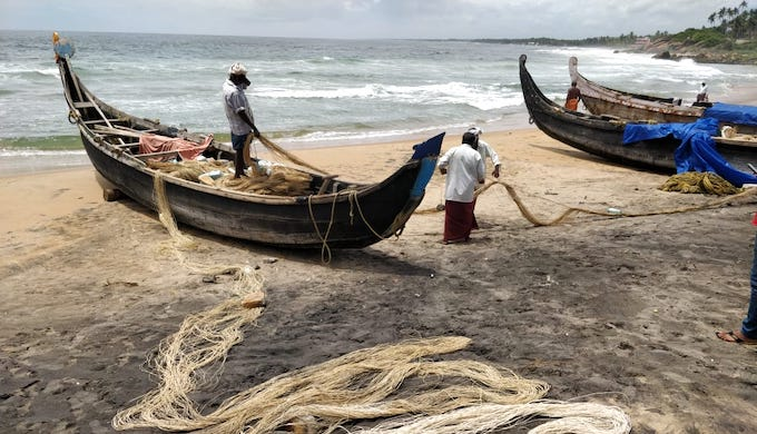 The sandy beaches are turned into stony sea wall. Fishermen are left with little place to park their boats and take them to sea for fishing (Photo by Hridayesh Joshi)