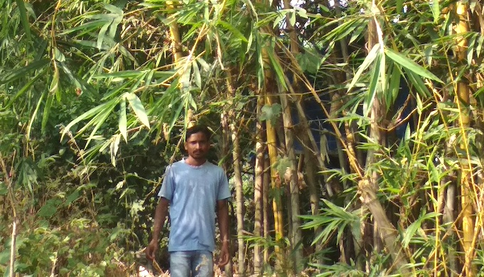 A farmer in front of a bamboo groove (Photo by Hiren Kumar Bose)