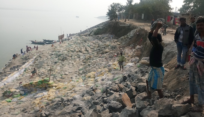 Locals accuse the administration of doing shoddy work to prevent soil erosion rather than finding a permanent solution (Photo by Gurvinder Singh)