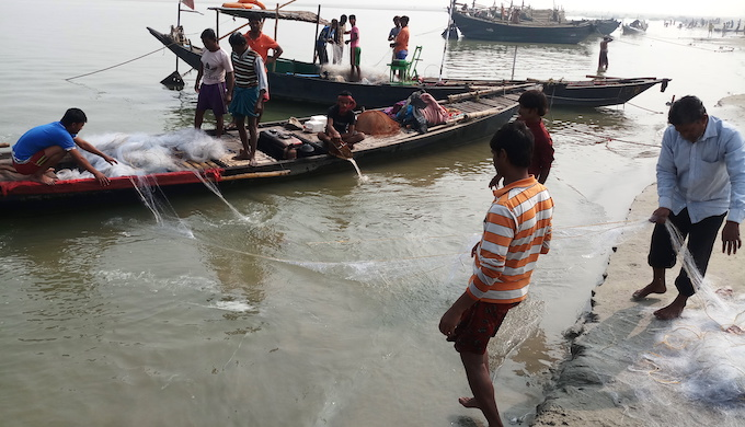 Fishermen complain of dwindling catch in the Ganga due to the increasing pollution and hot water discharge from NTPC's thermal power plant that has been affecting the biodiversity in the river (Photo by Gurvinder Singh)