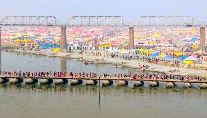 The tent city at the confluence of the Ganga and Yamuna. The Kumbh Mela at Prayagraj this year attracted more than 300 million people over a month and a half (Photo by Soumya Sarkar)