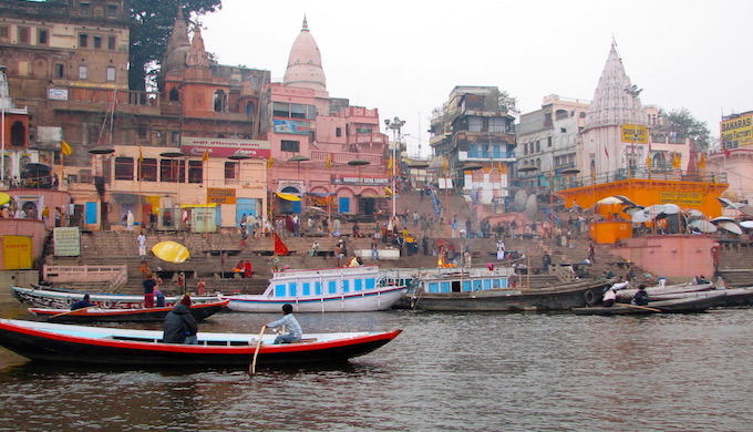 The famed ghats on the Ganga at Varanasi, the holy city of Hindus, are unfit for bathing, although there has been some cosmetic cleaning of the ghats in recent months (Photo by Soumya Sarkar)