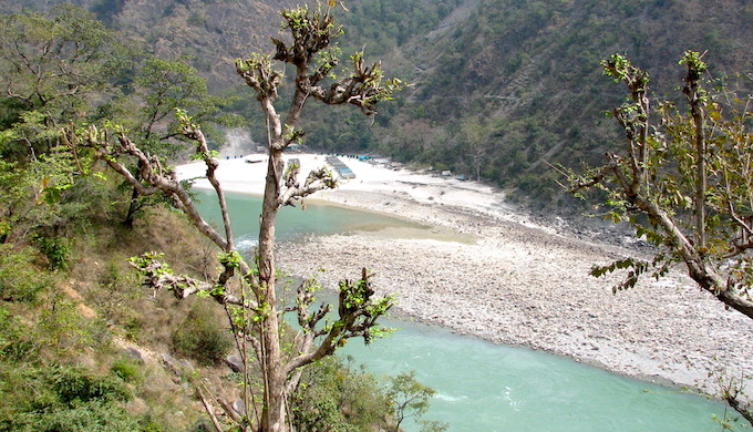 The Ganga River near Rishikesh. The flow of the headwater streams of the Ganga has been interrupted due to the construction of several hydropower dams (Photo by Soumya Sarkar)