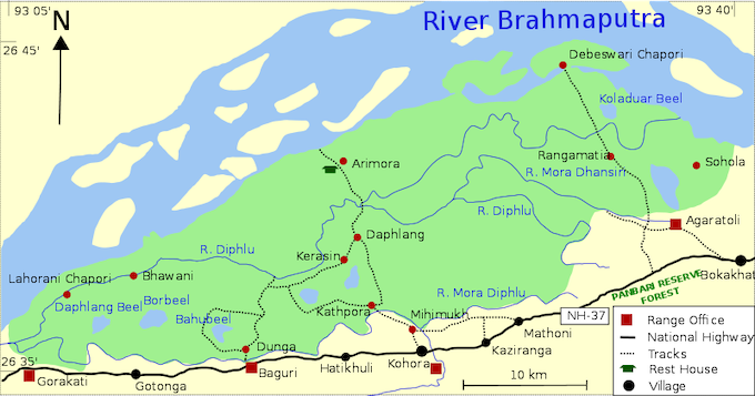 Kaziranga National Park (Map by Pradipta Ray)