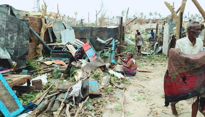 Ramshackle houses of poor people in Puri district were flattened during Cyclone Fani (Photo by Ranjan Mahapatra)