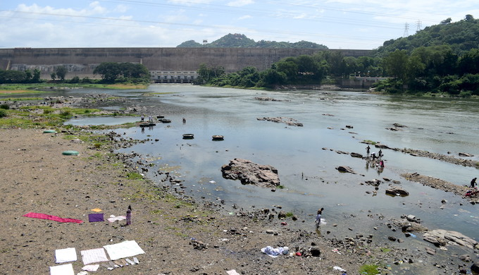The Cauvery River downstream of Mettur Dam in Salem district flows in a depleted state till water is released after the monsoon rains (Photo by Anusha Sundar)