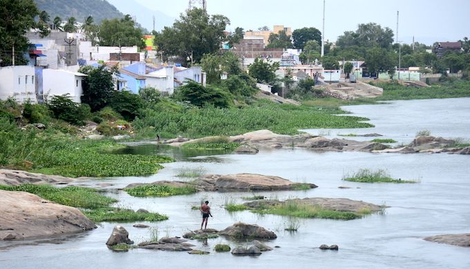 Illegally built houses on the banks of the Cauvery River are prone to get flooded every year when water is released from upstream dams (Photo by Anusha Sundar)