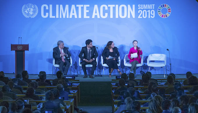 Climate activist Greta Thunberg (right) speaks at the opening of the UN Climate Action Summit 2019 (UN Photo)