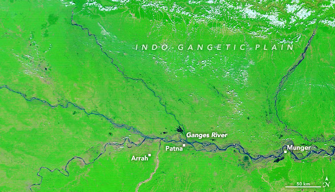 The Ganga basin in Bihar on October 2, when incessant rains started (Image by NASA)