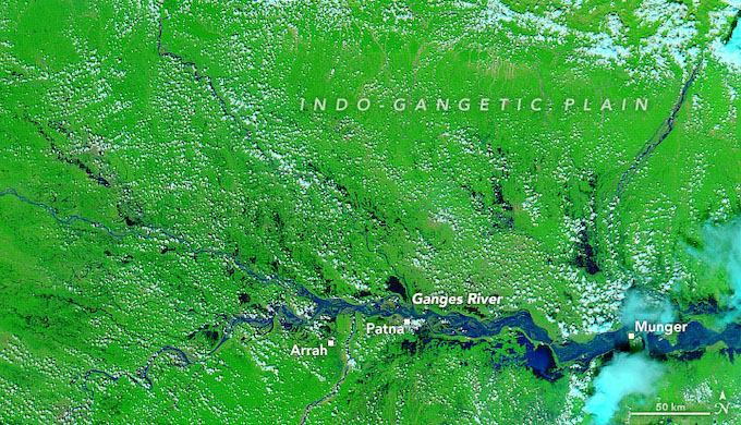Extensive flooding in the Ganga basin in Bihar on October 7 after five days of continuous rainfall (Image by NASA)