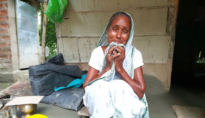 Sabita Biswas reduced to tears as she worries about her grandchildren excluded from citizenship (Photo by Chandrani Sinha