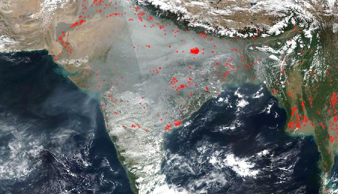Smoke and haze continue to shroud most of India