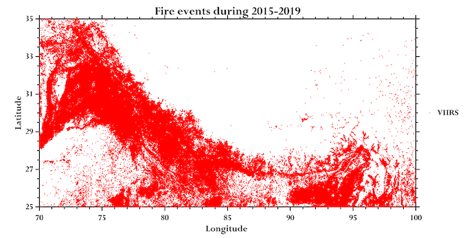 A geographical representation of fires (Image by Siva Praveen/ICIMOD)