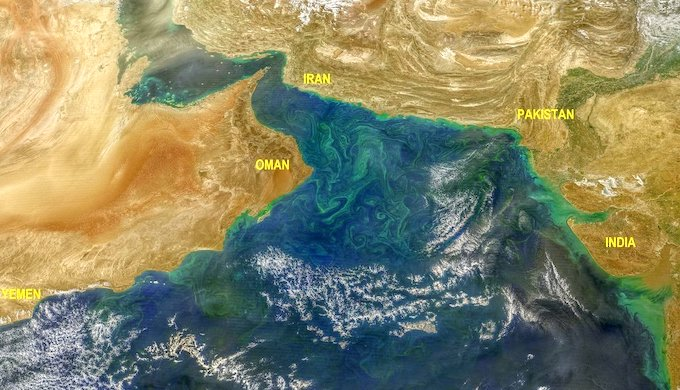 Algal blooms in the Arabian Sea seen from space (Image by NASA)