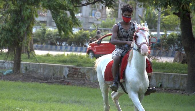 Soumyajit Samadder on his horse (Photo by Uzair Firdausi)