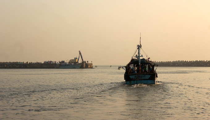 A trawler heading out to sea from Chennai (Photo by Mathi Vinod)