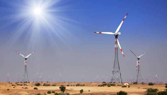 A wind farm in Rajasthan, India (Photo by Zoonar GmbH/Alamy)