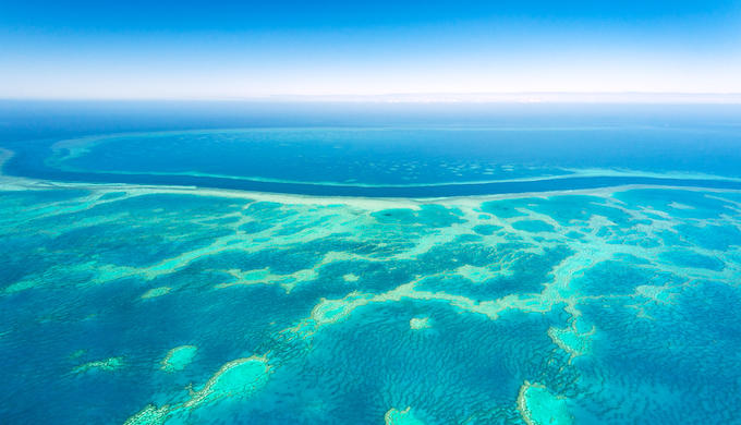 An aerial view of the Great Barrier Reef (Photo by Ingo Oeland/Alamy)