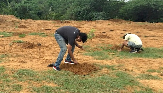 Aditya Mukarji participating in a tree-planting initiative (Photo source: Twitter)