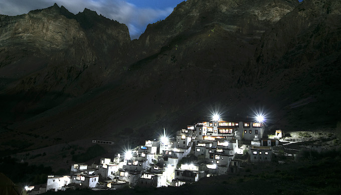 View of the 1,500-year-old Lingshed monastery in Ladakh after electrification in 2016 (Photo courtesy: Great Himalayan Expeditions)