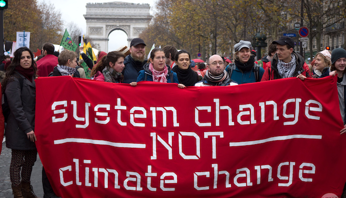 Activists at the Paris climate summit in 2015 (Photo by Mark Dixon)